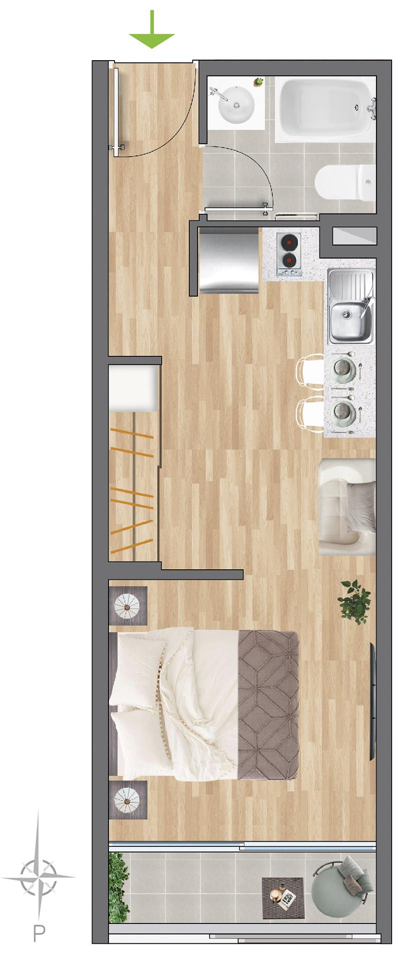 Tipología 53 m2
