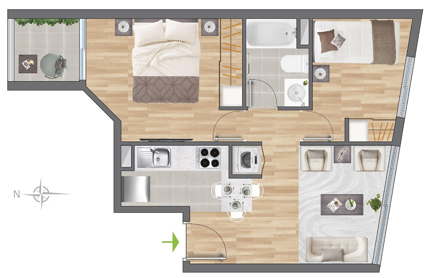 Tipología 42 m2