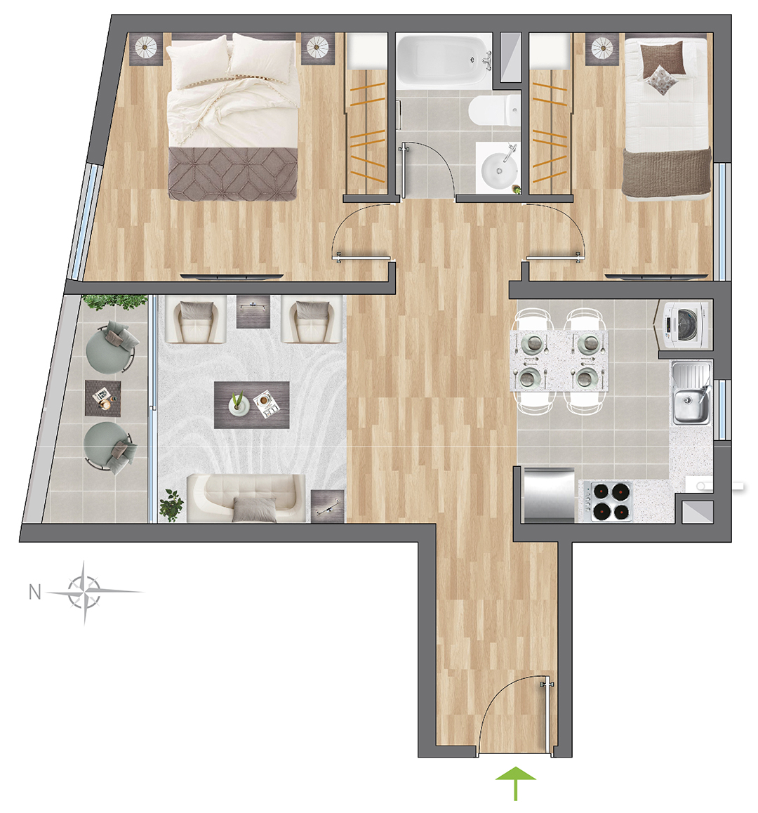 Tipología 55 m2
