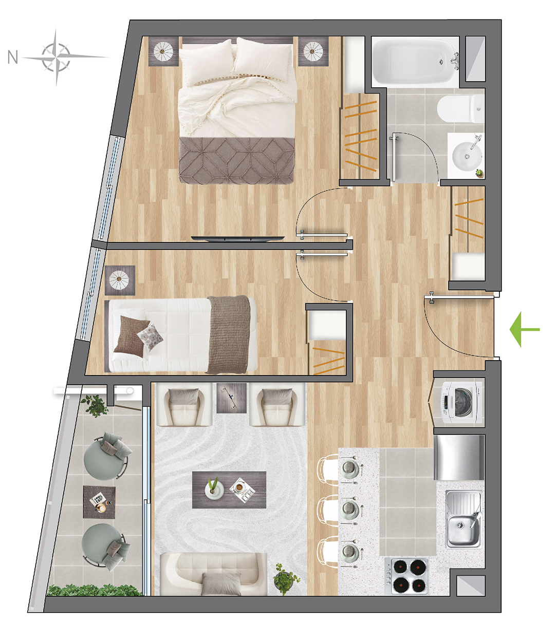 Tipología 43 m2