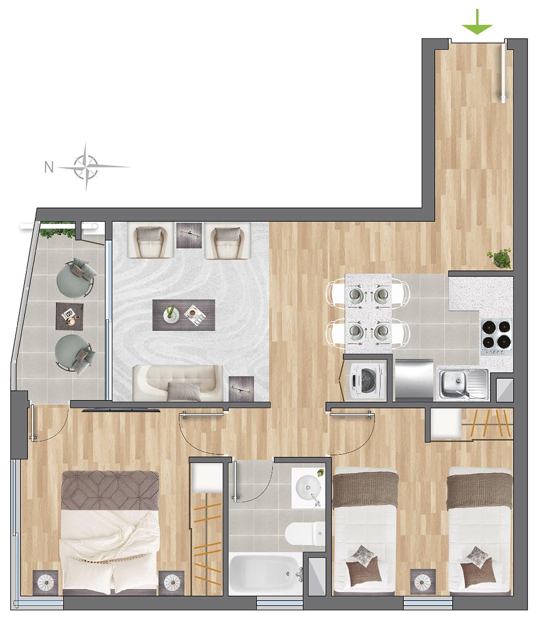 Tipología 54 m2