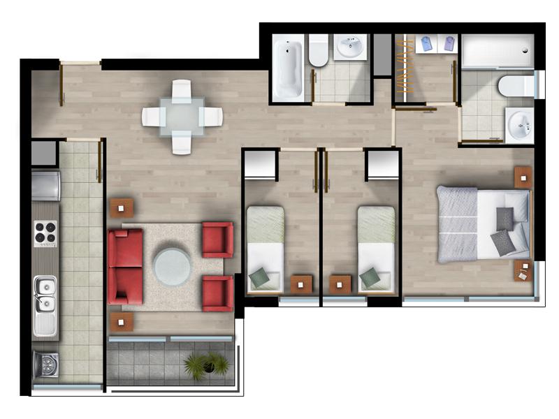 Superficie 64 m2