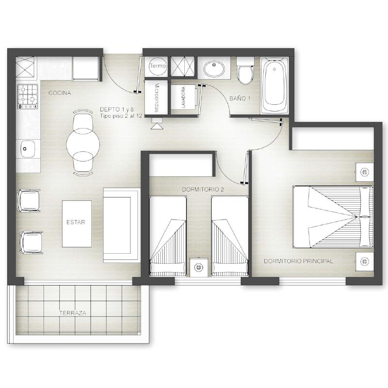 Superficie 68 m2