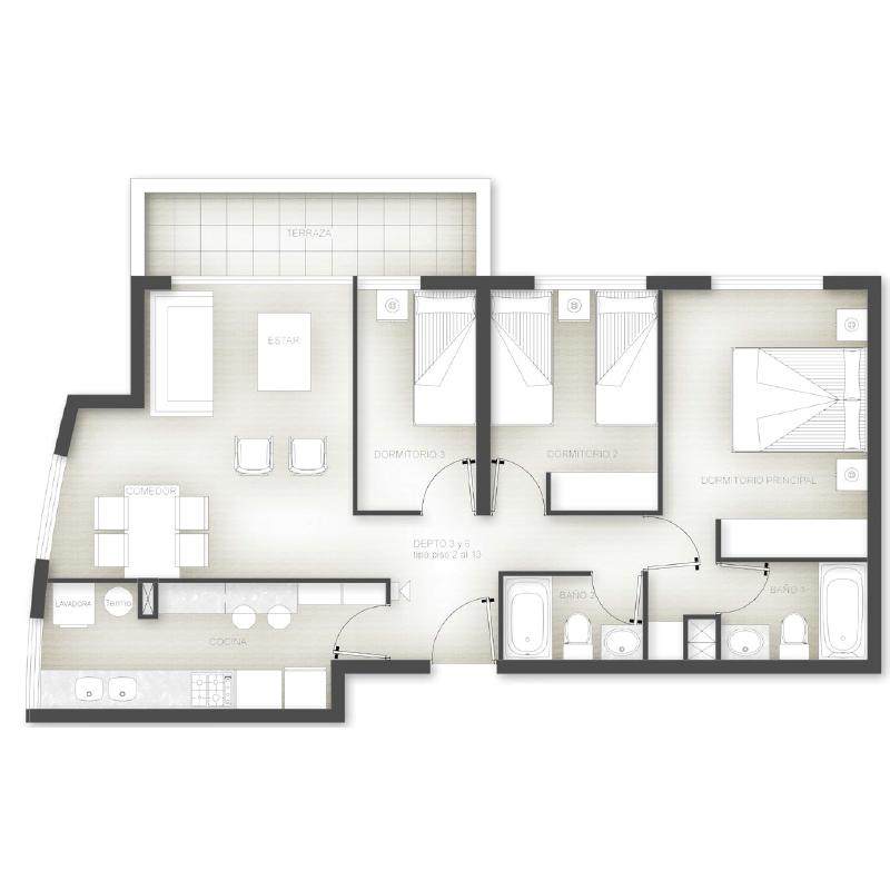 Superficie 74 m2