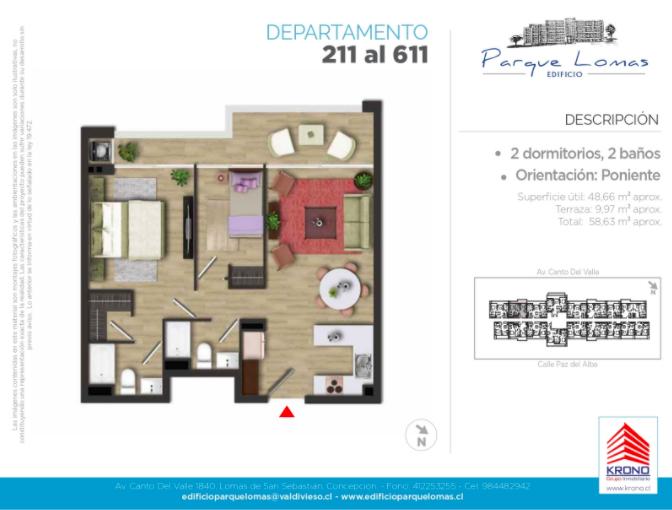 Departamento 211 al 611